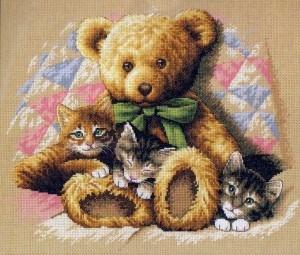 Изображение Мишка и котята (Teddy and Kittens)