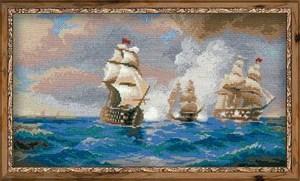 Изображение Бриг Меркурий, атакованный двумя турецкими кораблями по мотивам картины И. Айвазовского