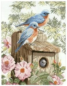 Изображение Синие птички в саду (Garden blue birds)