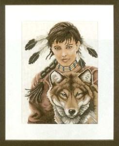 Изображение Девочка индеец с волком (Indian Girl with Wol)