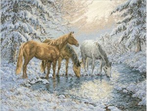Изображение Лошади у ручья (Sunlit Stream Horses)