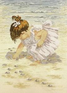 Изображение Девочка собирает ракушки (Collecting Shells)