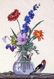 Изображение Букет цветов,бабочка и птица