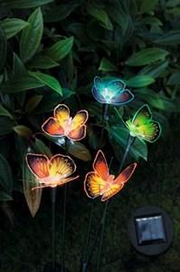 Изображение Набор светильников на солн батарее Бабочки 5шт 53cm /Провод  4.5m . Оптико-волоконные крылья бабочек