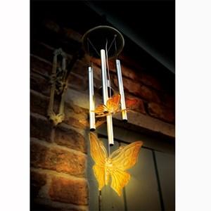 Изображение Светильник на солн батарее 41cm x 10cm  Бабочки (4шт) с колокольчиком Музыка ветра