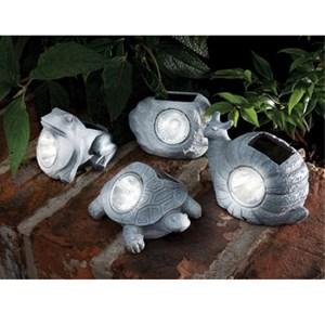 Изображение Светильник на солнечной батарее в ассортименте (черепаха, улитка, лягушка, камень)