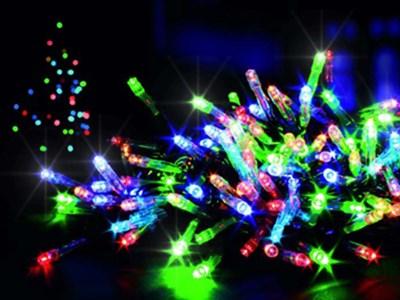 Изображение Гирлянда 100 LED, 2 функции, разноцветная, с таймером и питанием от АА батареек