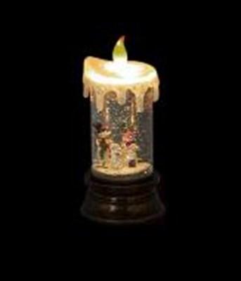 Изображение Светильник в форме свечи 20см, LED со сменой цвета, темная подставка