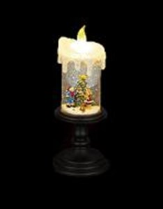 Изображение Светильник в форме свечи 25см, LED со сменой цвета, темная подставка