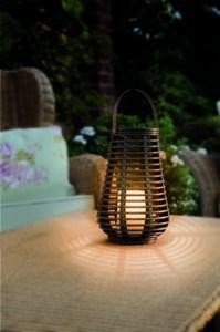 Изображение Подсвечник с LED свечей 25 см x 20 см иск ротанг