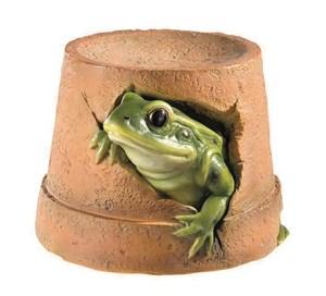 Изображение Фигура садовая 16,5см Лягушка в горшке