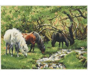 Изображение Лошади и ручей (Horses and Stream)