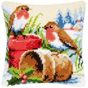 Изображение Зимние малиновки (подушка) (Winter Robins)