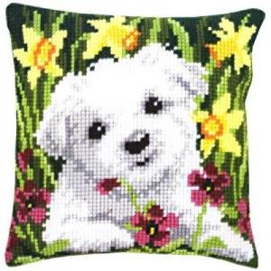 Изображение Щенок в нарциссах (подушка) (Westie in Daffodils)