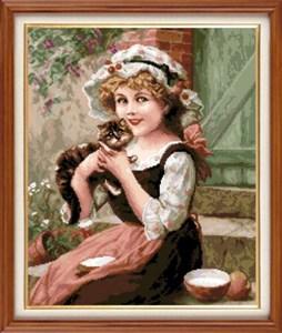 Изображение Девочка с котенком