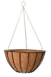 Изображение Корзина подвесная Classic с коковитой 30см. Изготовлена из прочной стальной проволоки, покрытой черной краской