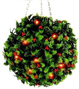 Изображение Искусственное растение Topiary Ball 30см на цепочке, 20 LED красных лампочек, АА батарейка