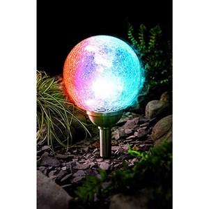 Изображение Светильник-шар на солн батарее 35 * 15cм , меняет цвет, стекло, нерж сталь