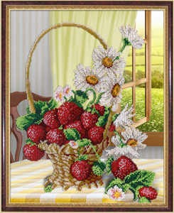 Изображение Ваза с ромашками и клубникой