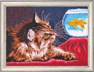 Изображение Котенок и золотая рыбка