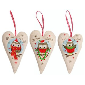 Изображение Декоративные рождественские сердца с совами (Deco Heart Christmas Owls)