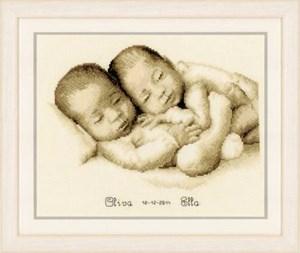 Изображение Двойняшки Близнецы Метрика новорожденных (Twins Birth Sampler)