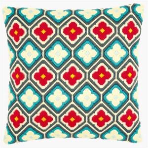 Изображение Ромбы и цветы мотив (подушка) (Rhombuses and flowers motif)