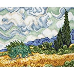 Изображение Пшеничное поле с кипариса (Wheat Field With Cypresses)