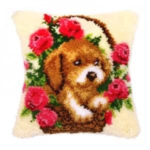 Изображение Щенок в корзине с цветами (коврик)