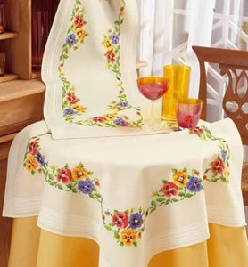 Изображение Анютины глазки(скатерть) (Pansies Tablecloth)