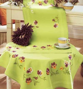 Изображение Анютины глазки(скатерть) (Pansies Table runner)