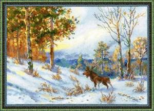 Изображение Лось в зимнем лесу