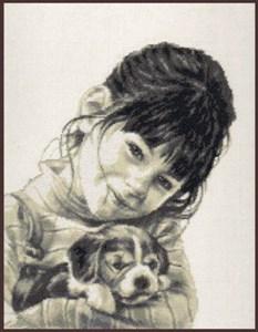 Изображение Девочка со щенком