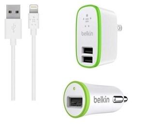 Изображение Комплект зарядных устройств Belkin с кабелем 8 pin белый