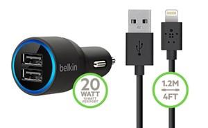 Изображение АЗУ Belkin с двумя USB выходами и USB кабелем Apple 8 pin черное