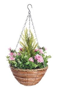 Изображение Корзина подвесная 25см с искуственными растениями (азалия, эвкалипт)