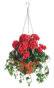 Изображение Корзина подвесная 30см с искуственными растениями (герань)