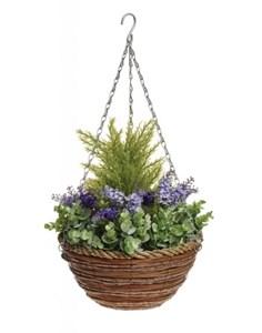 Изображение Корзина подвесная 30см с искуственными растениями (лаванда)