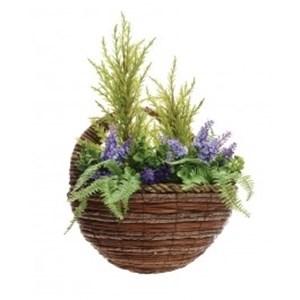 Изображение Кашпо настенное 28см с искуственными растениями (лаванда)