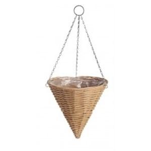 Изображение Кашпо конус подвесное пластик коричневый