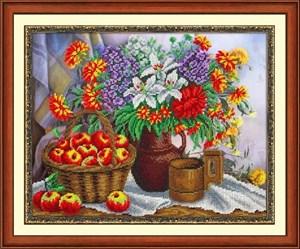 Изображение Яблоки и садовый букет