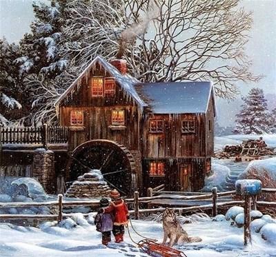 Изображение Мельница в снегу