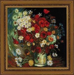 Изображение Ваза с маками, васильками и хризантемами Ван Гог