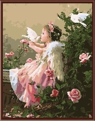 Изображение Ангелочек с голубями