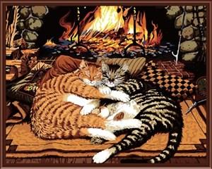 Изображение Кошки у камина