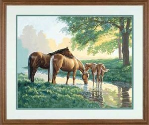Изображение Лошади у ручья
