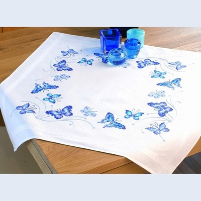 Изображение Синие бабочки Скатерть (Blue Butterflies Tablecloth)