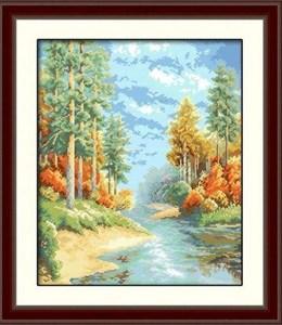 Изображение Река с сосновом лесу