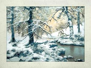 Изображение Волки возле зимнего ручья