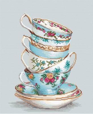 Изображение Бирюзовые чайные чашки
